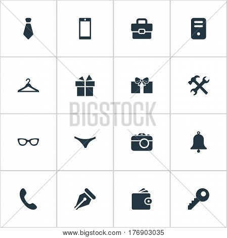 Vector Illustration Set Of Simple  Icons. Elements Hanger, Billfold, Ring And Other Synonyms Purse, Present And Handbag.