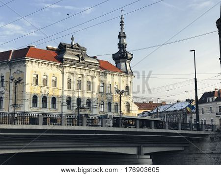Cluj Napoca bridge and architecture on a sunny day