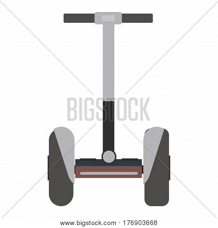 Mono wheel isolated roller scooter balance bike. Self-balancing scooter eco alternative transport. Flat design biking and rolling wheel. Vector balance kick scooter segway. Push cycle gyroscooter.