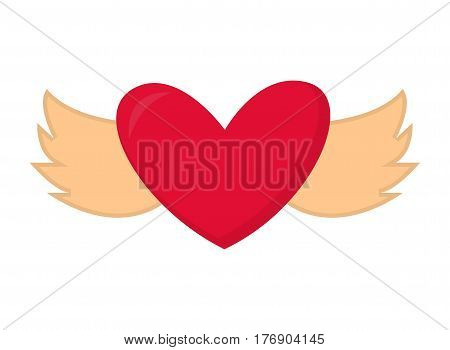 Heart with wings vector valentine abstract design illustration. Red heart with wings romance shape art graphic love decoration. Romantic vintage grunge label red passion flying symbol.