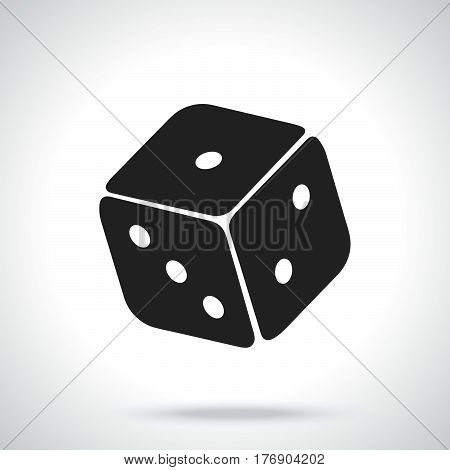 Vector illustration. Silhouette of one casino dice. Gambling game symbol. Patterns elements for greeting cards wallpapers