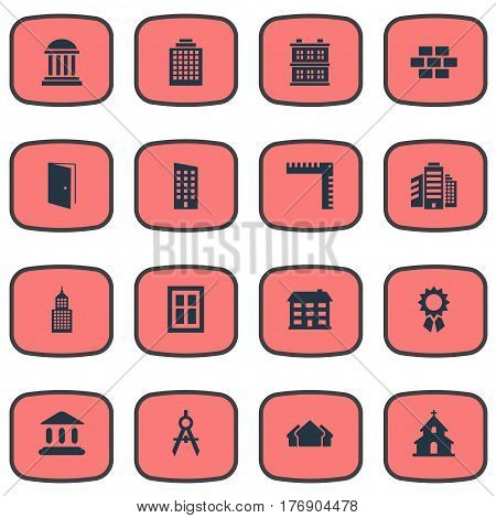 Vector Illustration Set Of Simple Construction Icons. Elements Stone, School, Academy And Other Synonyms Apartment, Domicile And Church.