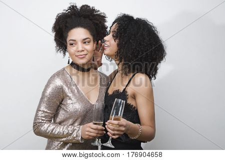 Young women having fun together at the party