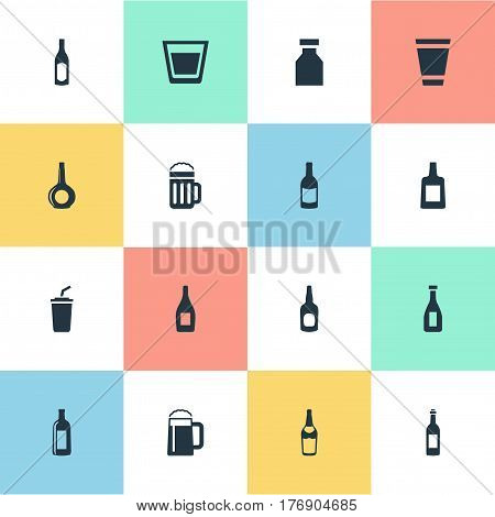 Vector Illustration Set Of Simple Beverage Icons. Elements Cup, Whiskey, Glass And Other Synonyms Cognac, Pub And Container.