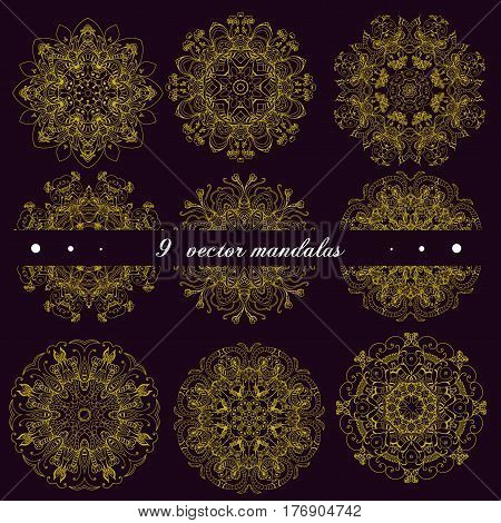 Set of mandalas decorative indian ethnic round ornaments. Anti-stress therapy patterns. Weave design elements. Yoga flower logos meditation unusual flower shape. Oriental round floral vector