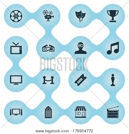 Vector Illustration Set Of Simple Cinema Icons. Elements Spectator, Screen, Structure And Other Synonyms Clapper, Retro And Board.