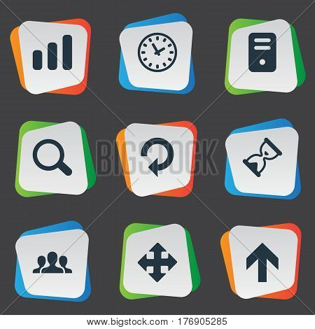 Vector Illustration Set Of Simple Apps Icons. Elements Upward Direction, Sand Timer, Magnifier Synonyms Chart, Ticker And Sandglass.