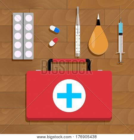 Medical cure and tools. Medical care vaccination and flu injection. Vector illustration