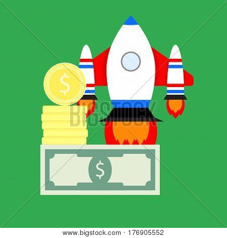 Investing in new business. Success start up finance profit and venture invest vector illustration