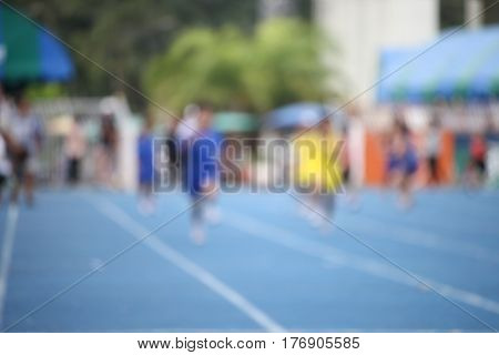 Blur of Thai children are in running competitionin Thailand