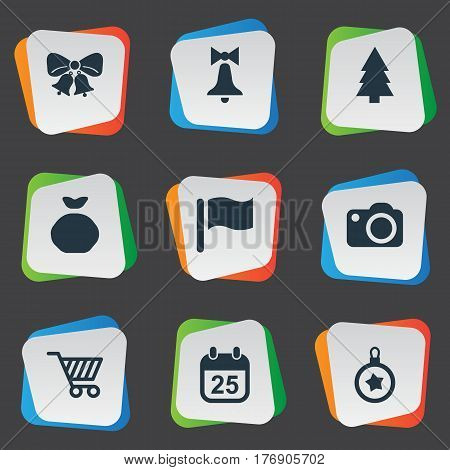 Vector Illustration Set Of Simple Celebration Icons. Elements Calendar, Photography, Christmas Decoration And Other Synonyms Present, Bag And Mark.