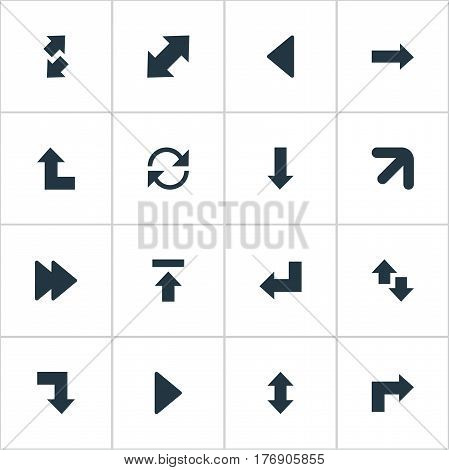 Vector Illustration Set Of Simple Indicator Icons. Elements Down Up, Right Leading Arrow, Raise-Fall And Other Synonyms Ahead, Recycle And Vertical.