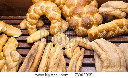 Local Breads In Baker Shop In Sicily