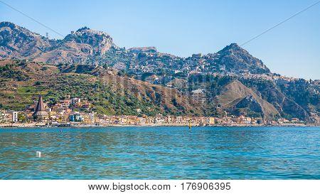 Taormina City And Giardini Naxos Town On Coast