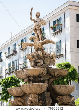 Fountain In Palermo City In Sicily
