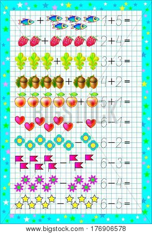 Educational page for children with exercises on a square paper with number 6. Developing skills for counting. Vector image.