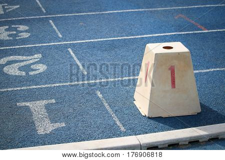 Starting point with running track lane Numbers