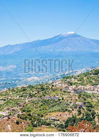 Villages On Green Hills And Etna Volcano In Sicily