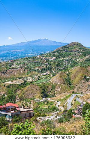 Green Hills With Villages And Etna In Sicily