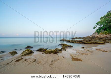 Surin beach in Phuket island at sunrise