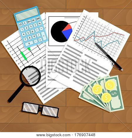Economic analysis of graphs and diagrams. Analyzing work stock index vector illustration