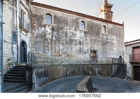 Square In Castiglione Di Sicilia Town