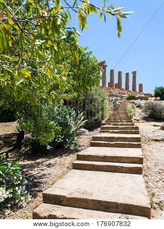 Steps To Temple Of Juno (hera) In Agrigento