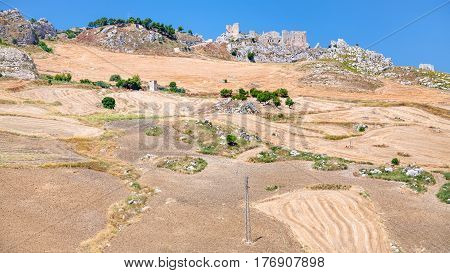 Agrarian Fields And Abandoned Village In Sicily