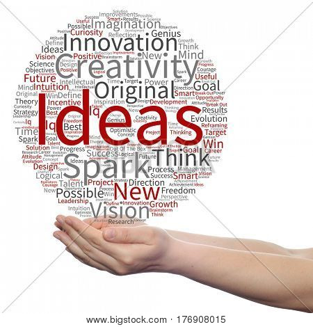 Concept or conceptual creative new ideas or brainstorming circle word cloud in hands isolated on background