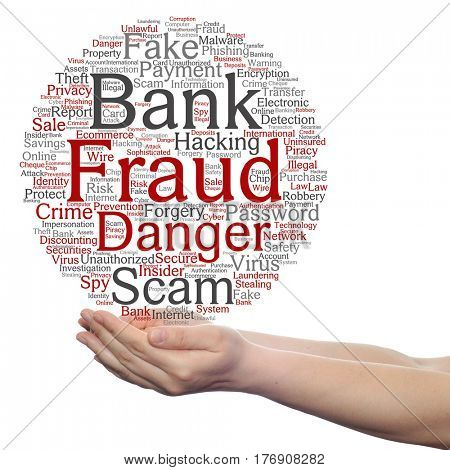 Concept or conceptual bank fraud payment scam danger circle word cloud in hand isolated on background