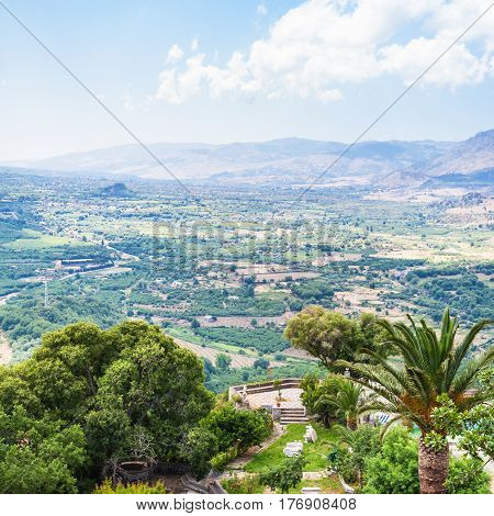 Above View Of Rural Gardens In Mountain Valley