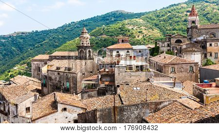 Houses And Churches In Castiglione Di Sicilia