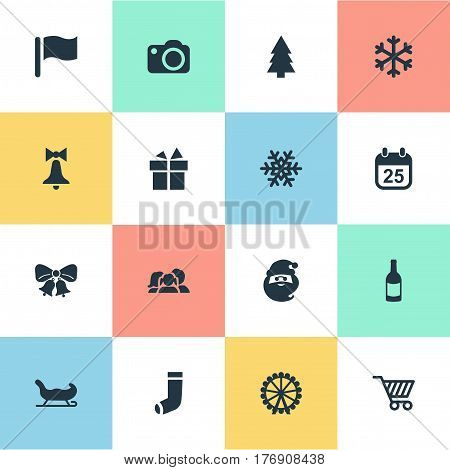 Vector Illustration Set Of Simple New Year Icons. Elements Christmas Decoration, Funfair, Basket And Other Synonyms Bow, Carouse And Cart.