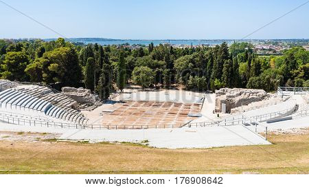 Above View Of Greek Theater In Archaeological Park