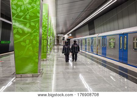 MOSCOW, RUSSIA - MAR 18, 2017: New metro station