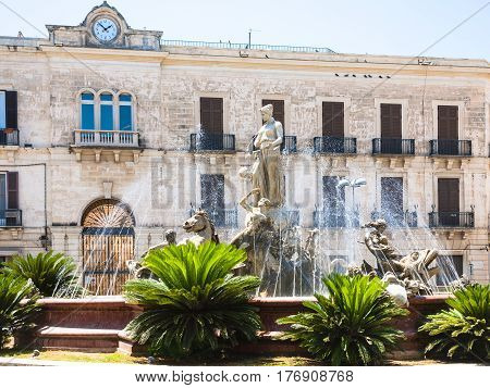 View Of Fountain On Piazza Archimede In Syracuse
