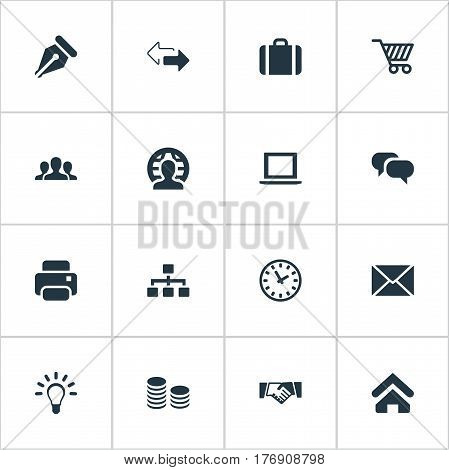 Vector Illustration Set Of Simple Business Icons. Elements Chatting, Clock, Relationship And Other Synonyms Unity, Ink And Trading.