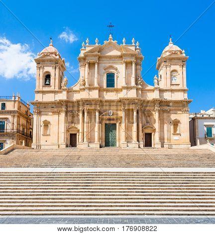 Facade Of Noto Cathedral In Sicily