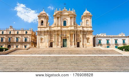 Front View Of Noto Cathedral In Sicily