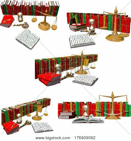 scales wooden mallet hourglasses books and other objects