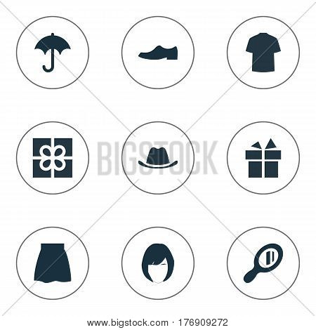 Vector Illustration Set Of Simple Wardrobe Icons. Elements Man Clothing, Elegance, Skirt And Other Synonyms Present, Shirt And Hairdressing.