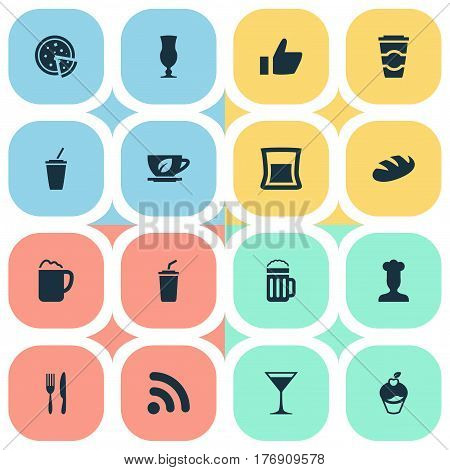 Vector Illustration Set Of Simple Cafe Icons. Elements Glass, Beer, Soft Drink And Other Synonyms Food, Pub And Drink.