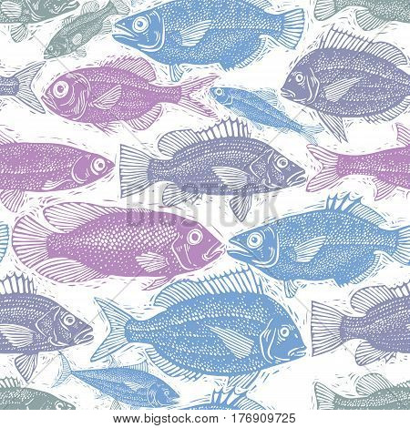 Seamless sea pattern different fish silhouettes. Hand drawn fauna vector aqua nature continuous background.