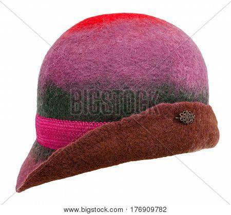 Side View Of Handmade Felt Woman's Cloche Hat