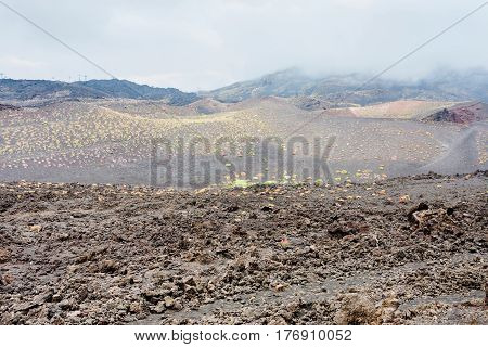 Clouds On Hardened Lava Field On Mount Etna