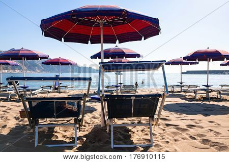 Chairs On Urban Beach In Giardini Naxos Town