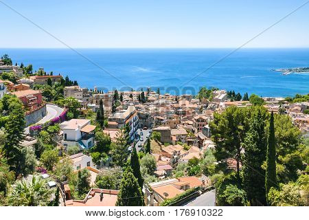 Above View Taormina City From Castelmola Village