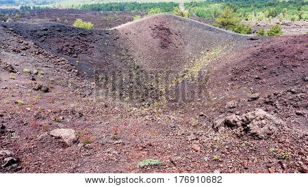 Old Crater Of The Etna Mount In Sicily