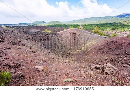 View Of Old Crater Of The Etna Mount In Sicily