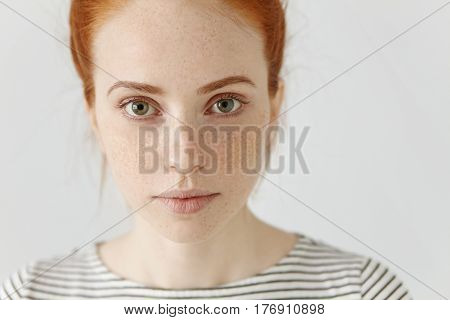 Close Up Highly-detailed Portrait Of Amazing Charming Young European Woman With Ginger Hair And Perf